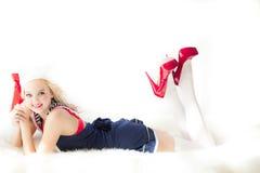 Pinup żeglarza Ślicznej dziewczyny łgarski puszek Fotografia Stock