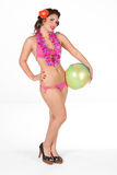 Pinup with beachball Royalty Free Stock Photography