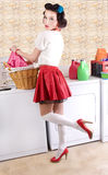 Pinup beauty in the laundry Royalty Free Stock Image