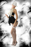 Pinup in black dress Royalty Free Stock Image