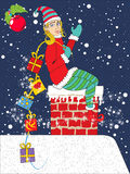 Pinup christmas elf with gifts. Vector illustration of a young girl elf bringing gifts through the home chimney vector illustration
