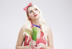 Pinup Concepts And Ideas. Sensual Caucasian Blond Female in Red Royalty Free Stock Images