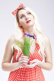 Pinup Concepts And Ideas. Sensual Caucasian Blond Female in Red Royalty Free Stock Image