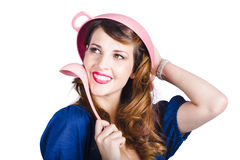 Pinup cook in funny pose Royalty Free Stock Images