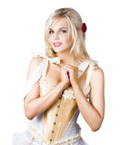 Pinup woman in corselet dress Stock Photo