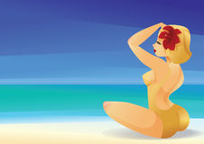 Pinup curvy blonde girl on ocean shore   Royalty Free Stock Images