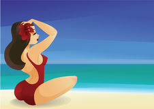 Pinup curvy brunette girl on ocean shore decorates its hair with. Illustration with a pinup style curvy brunette girl sits on ocean beach in clear sunny day Royalty Free Stock Photography