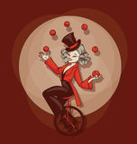 Pinup cute cartoon aquilibrist juggling balls. Young circus artist perform equilibt on bycicle stunt. Pinup cartoon style Stock Photo
