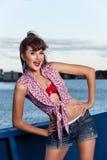 Pinup dziewczyna na statku Zdjęcia Royalty Free