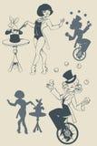 Pinup equilibrist jonglierende Bälle und Zauberkünstler Stockfoto