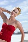 Pinup Girl. On the Beach stock photos