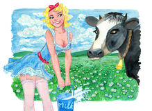 Pinup girl advertising milk and cow against the green field. Vintage rural background with summer landscape, watercolor illustration with design graphic Stock Photo