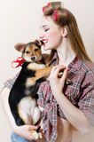 Pinup girl beautiful blond young woman with curlers on her head having fun with little dog in her arms on white copy space Stock Photography