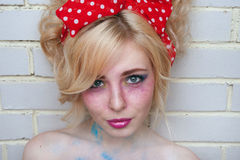 Pinup the girl with bright creative make-up Stock Photography
