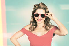 Pinup girl fashion model wearing summer sunglasses Stock Image
