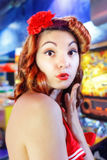 Pinup girl kiss Stock Photo