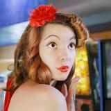 Pinup girl kiss Stock Photography