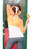 Pinup Girl with Lollipop Stock Photo