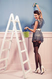 Pinup girl painting on the wall Royalty Free Stock Image
