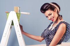 Pinup girl painting on the wall Stock Photo