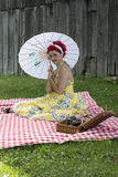 Pinup girl picnic Royalty Free Stock Image