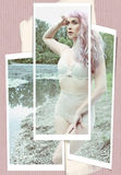 Pinup girl with a pink hair Royalty Free Stock Images