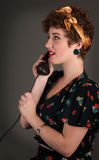 Pinup Girl Profile on Phone Stock Photos