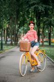 Pinup girl on retro bicycle with backet of flowers stock photos