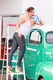 Pinup Girl Retro Truck Wash royalty free stock photos