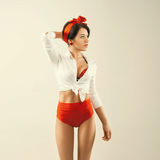 Pinup girl in studio. Back to 1950s. Retro style Stock Image