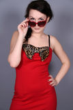 Pinup girl in sunglasses Stock Photo