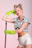 Pinup girl Woman housewife cleaner portrait Royalty Free Stock Photo