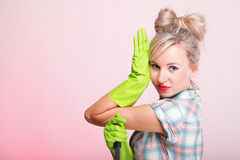 Pinup girl Woman housewife cleaner portrait Royalty Free Stock Photos