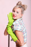 Pinup girl Woman housewife cleaner portrait Stock Photo