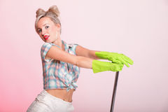 Pinup girl Woman housewife cleaner portrait Stock Image