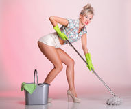 Pinup girl Woman housewife cleaner portrait Royalty Free Stock Photography