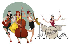 PinUp Girls Band. Four beautiful and tattooed pinup girls playin. G music. Vector Illustration Royalty Free Stock Photo