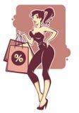Pinup het winkelen royalty-vrije illustratie