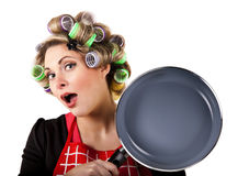 Pinup housewife portrait with pan Royalty Free Stock Images