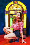 Pinup and jukebox Stock Images