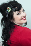 Pinup Model in Red Sweater Stock Photos