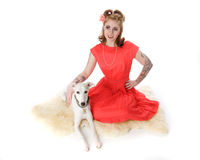Pinup Model and Whippet Royalty Free Stock Photos