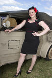 PinUp next to Jeep Royalty Free Stock Images