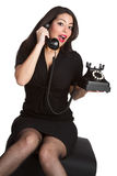 Pinup Phone Woman Stock Photography