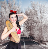 Pinup skateboarder woman in punk glam fashion Royalty Free Stock Photography