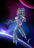 PinUp_Space. Spacewoman surfing the outer space. Following map route. Galaxy and Planets on background. May be lost in space Stock Photos
