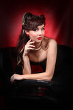 Pinup Style Girl in Black Dress Royalty Free Stock Photography