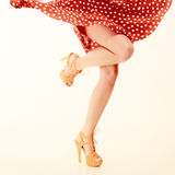 Pinup style. female legs in dance. Royalty Free Stock Image