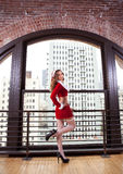Pinup style sexy  Woman in Santa Outfit Royalty Free Stock Photography