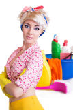 Pinup styled housewife with cleaning set Stock Photos
